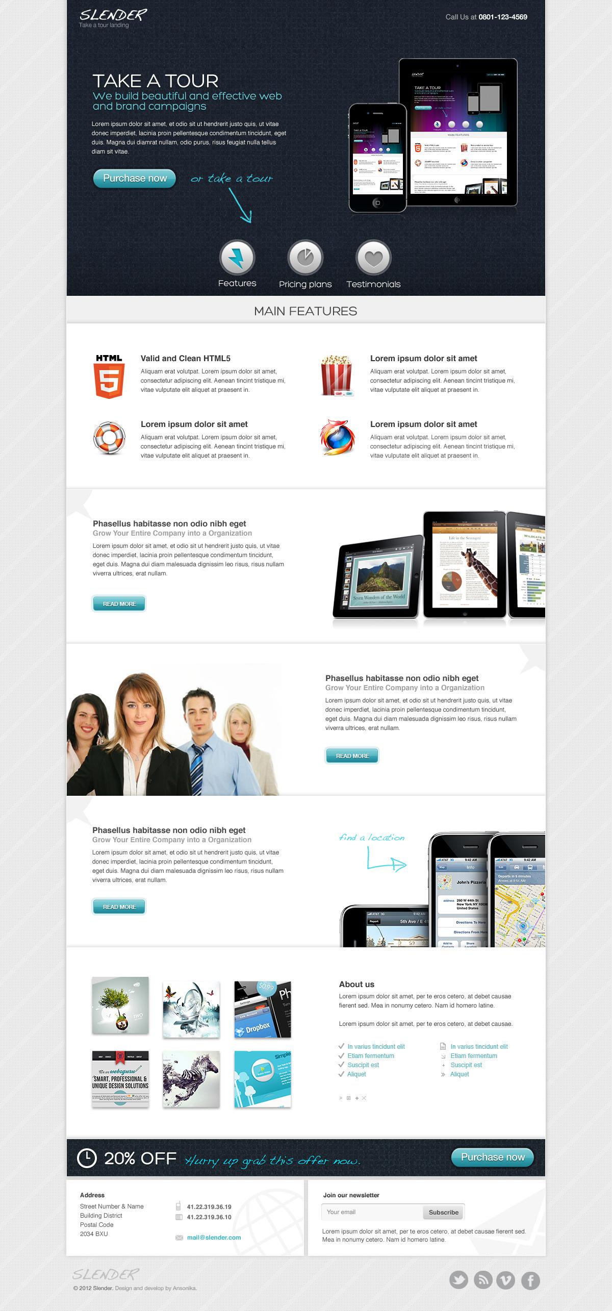 SLENDER - Take a tour micro site PSD template