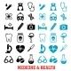 Black and Blue Flat Medical Icons Set