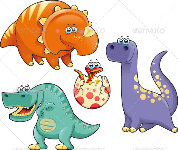 GraphicRiver Group of funny dinosaurs 161969