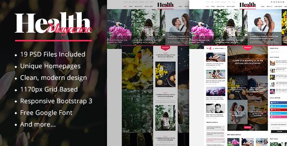 HealthMag - News & Magazine PSD Template