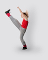 Teenage girl dancing breakdance in action