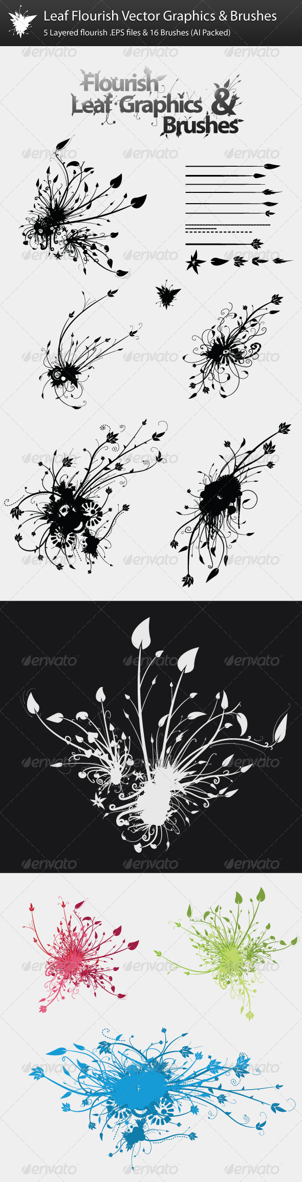 GraphicRiver Leaf Flourish Vector Graphics & Brushes 162072