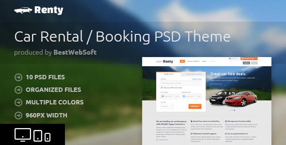 Renty - Car Rental & Booking PSD Template