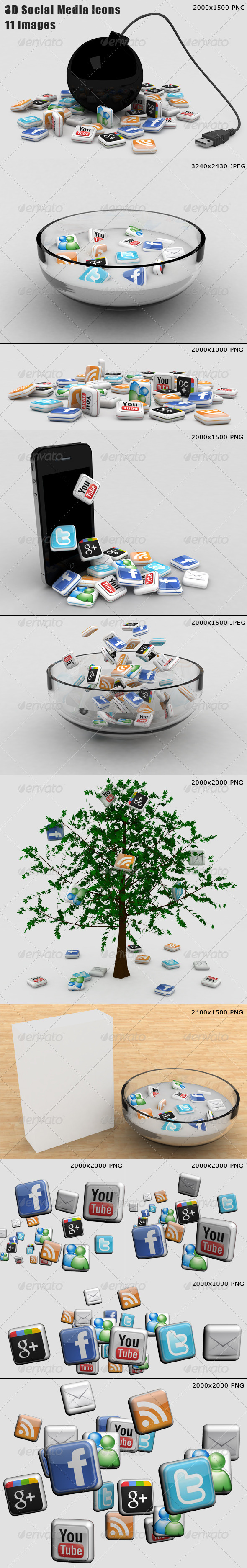 11 Social Media Illustrations - Technology 3D Renders