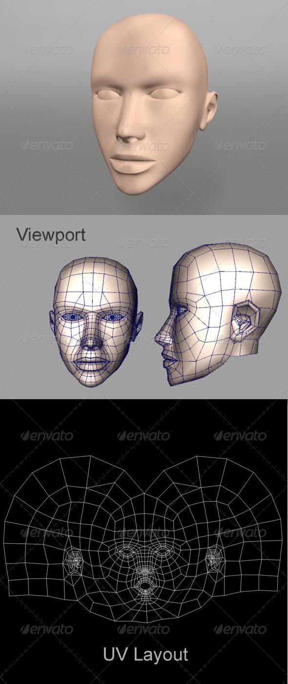 3DOcean Human Female Head 162144
