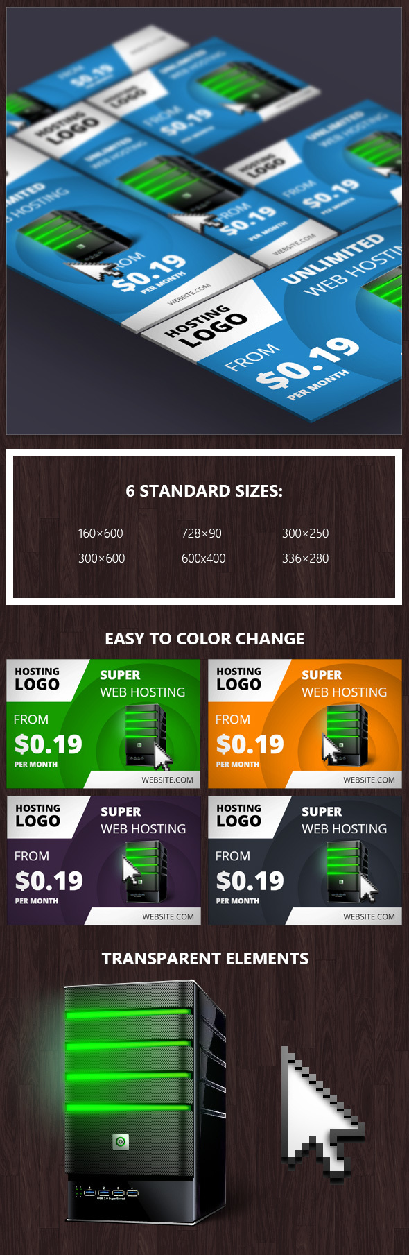 CodeCanyon Hosting Banner with Hover Effect 13553089