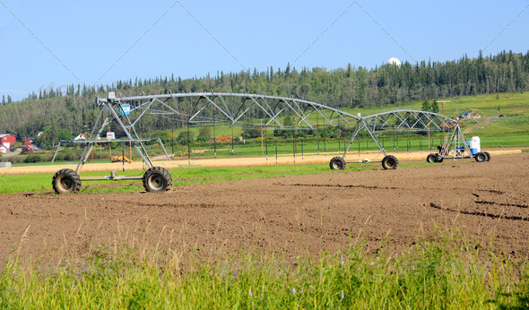 Center Pivot Irrigation System at Alaska Experimental Farm - Stock Photo - Images