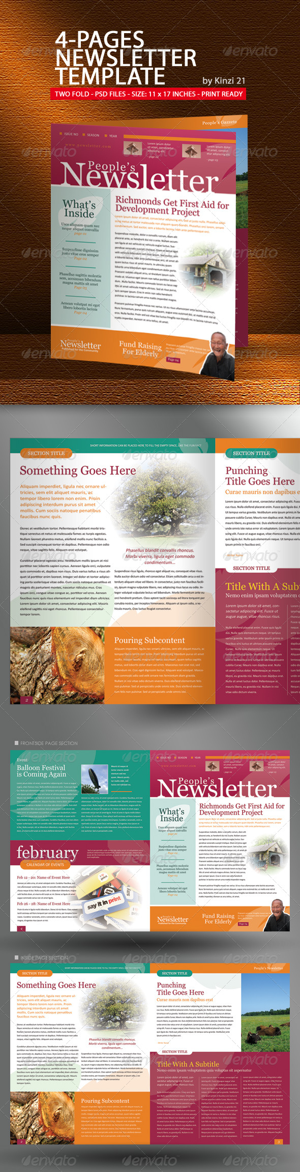 4-Pages Newsletter Template - Newsletters Print Templates