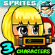 Girl Warriors 2D Game Character Sprites 134
