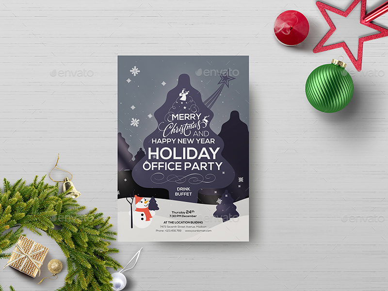 Office Holiday Party - Flyer Template by wutip2 | GraphicRiver