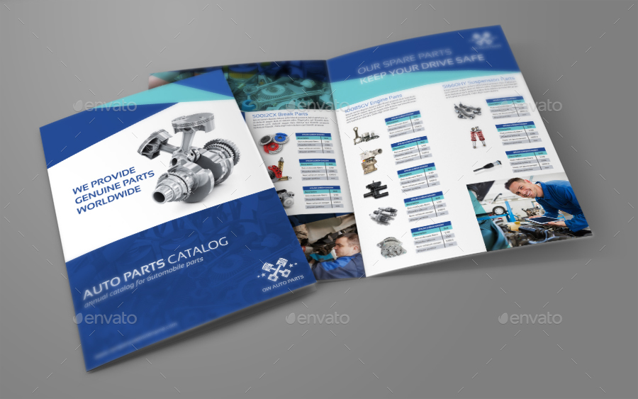 car brochure templates - auto parts catalog bi fold brochure template by owpictures