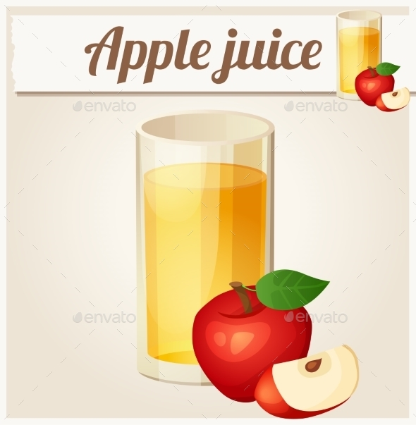 Apple Juice. Detailed Vector Icon