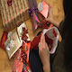 Woman Fills a Christmas Stocking