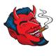 Laughing Devil Face Smoking Cigar