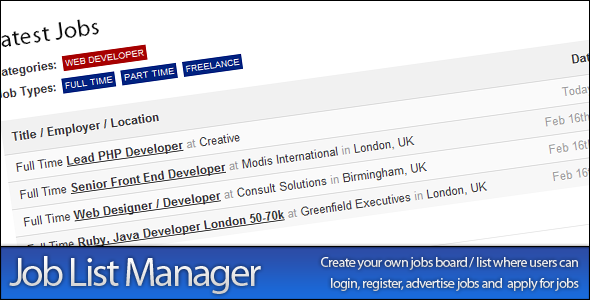 CodeCanyon Job List Manager 162365