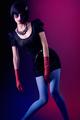 Fashion beauty brunette woman, bob hairstyle black
