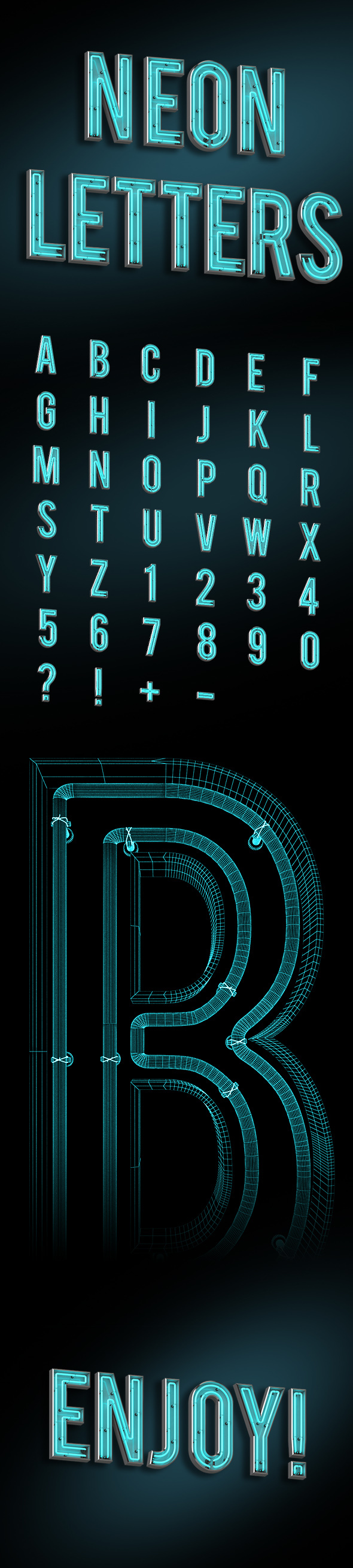 Neon typeface - 3DOcean Item for Sale