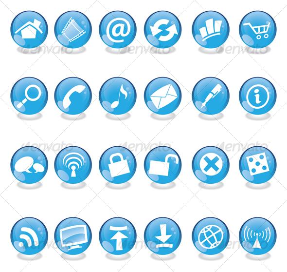 blue glass web icons