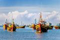 Colorful traditional fishing boats near Mui Ne, Binh Thuan, Vietnam.