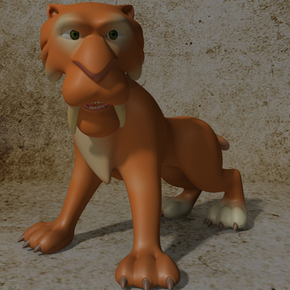 Cartoon Sabertooth Tiger RIGGED - 3DOcean Item for Sale