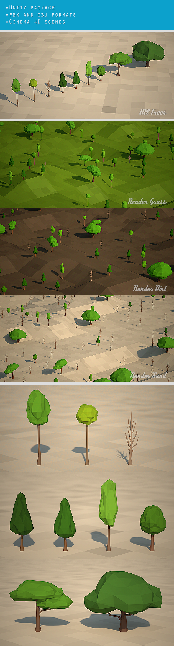 9 Low Poly Trees - 3DOcean Item for Sale