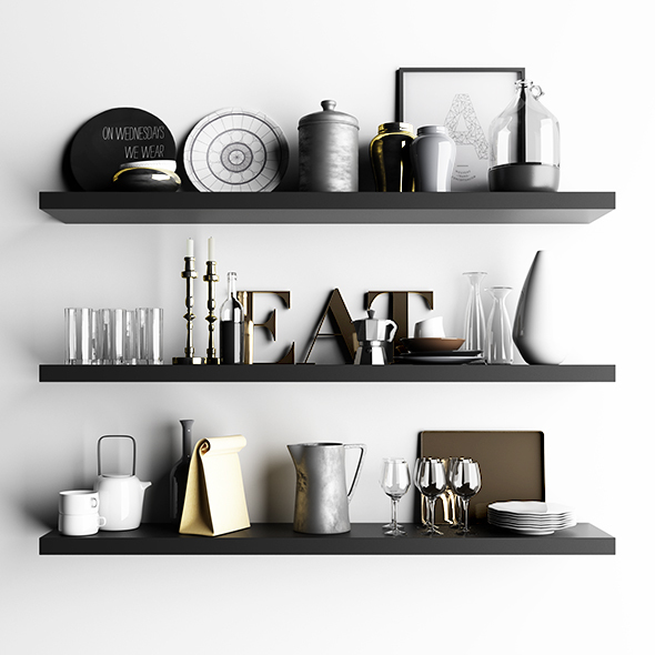 Shelf with utensils - 3DOcean Item for Sale