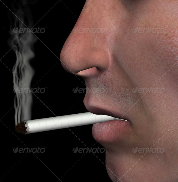 smoking man cigarette smoke illustration - Stock Photo - Images