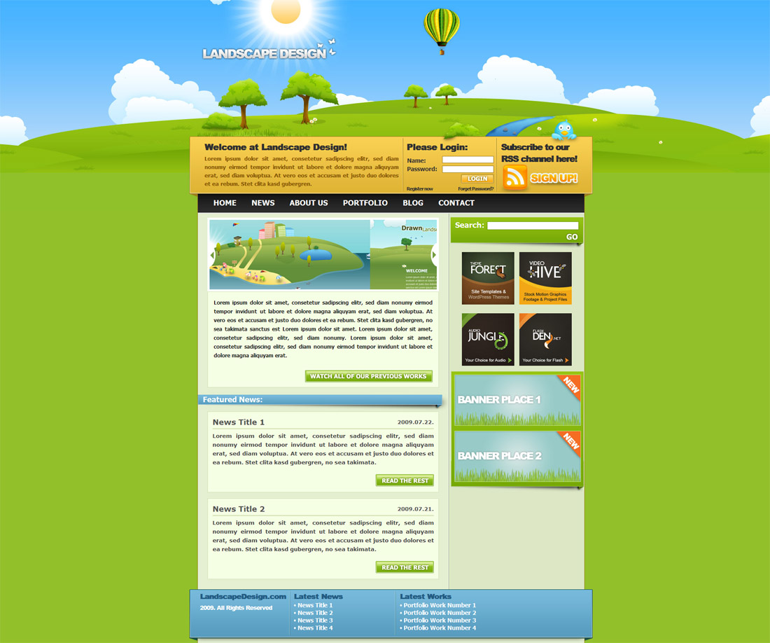 Landscape Design Drawn styled XHTML & CSS Template