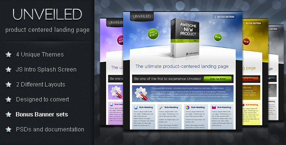 Unveiled - Ultimate Product Focused Landing Page - This is the Preview Image for the file.