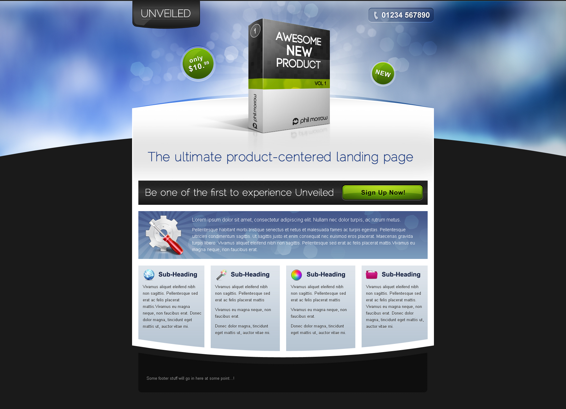 Unveiled - Ultimate Product Focused Landing Page - This is the first of 4 themes, in striking blue and vibrant green.