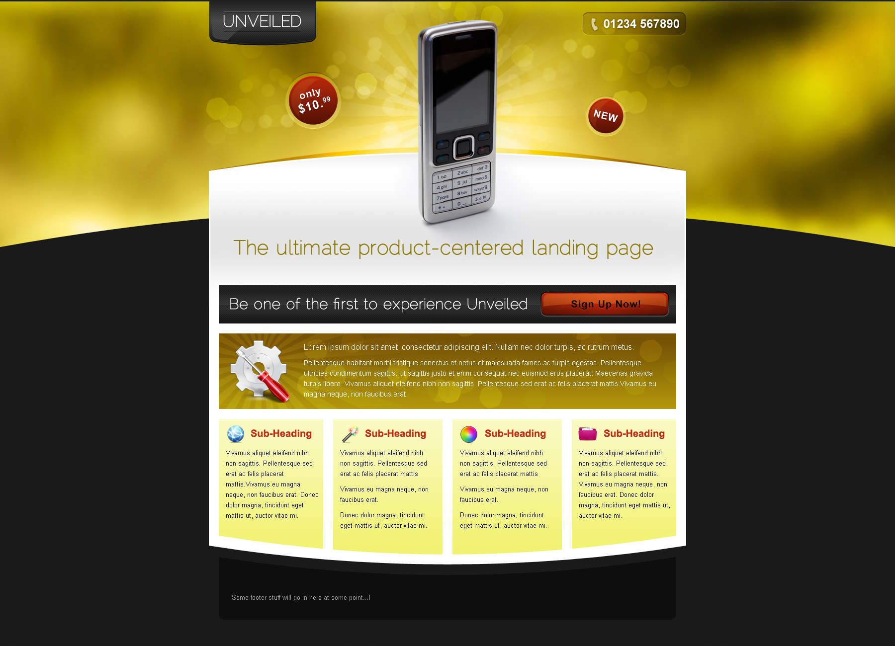 Unveiled - Ultimate Product Focused Landing Page - This is the second of 4 themes, in golden. Aimed at high-end products, such as expensive gadgets and jewellery.
