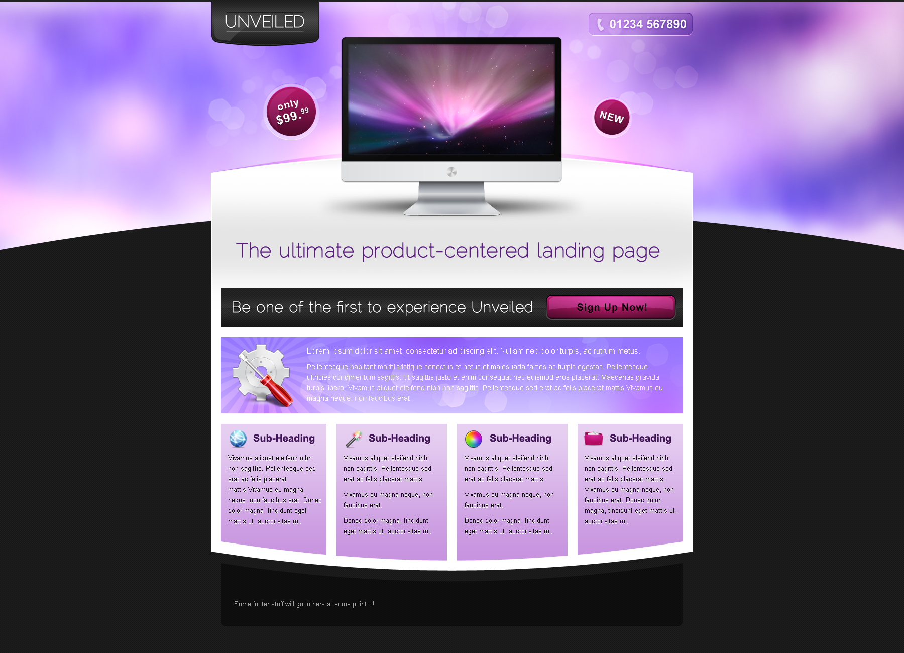Unveiled - Ultimate Product Focused Landing Page - This is the third of 4 themes, in various shades of purple and pink. It is aimed at promoting software or services.