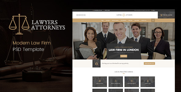 Lawyer Attorneys - Modern Law Firm PSD Template