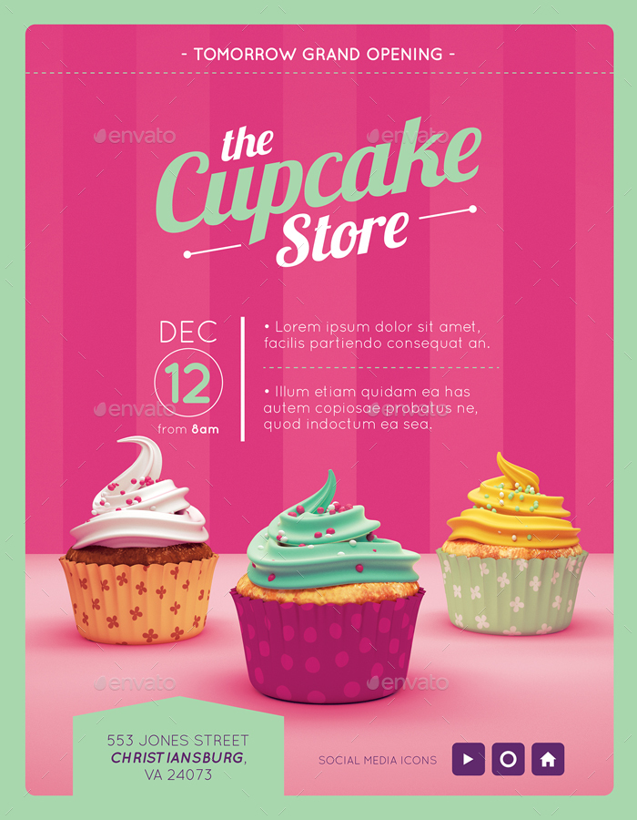 Vintage Bakery Magazine Advertising Templates By