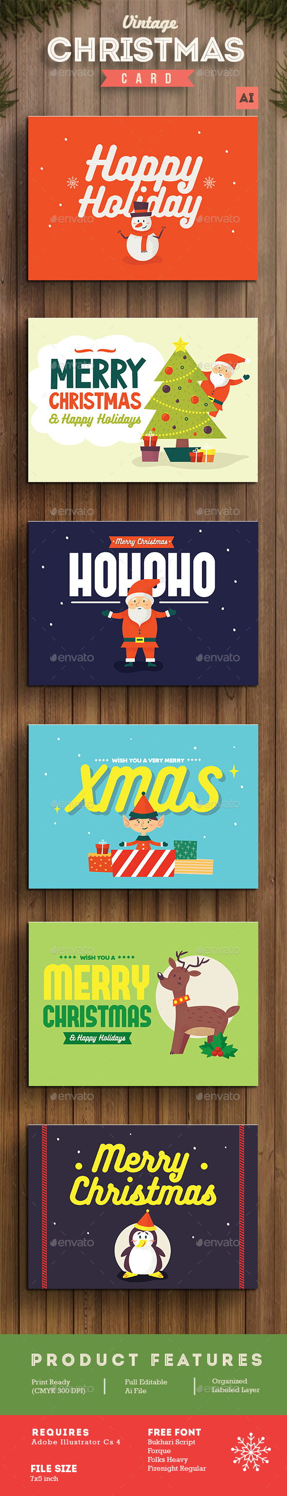 Set of Christmas Card / Background
