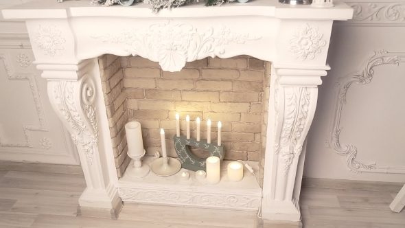 Christmas Decoration White Fireplace