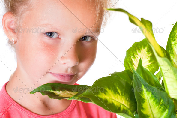 Girl with houseplant - Stock Photo - Images