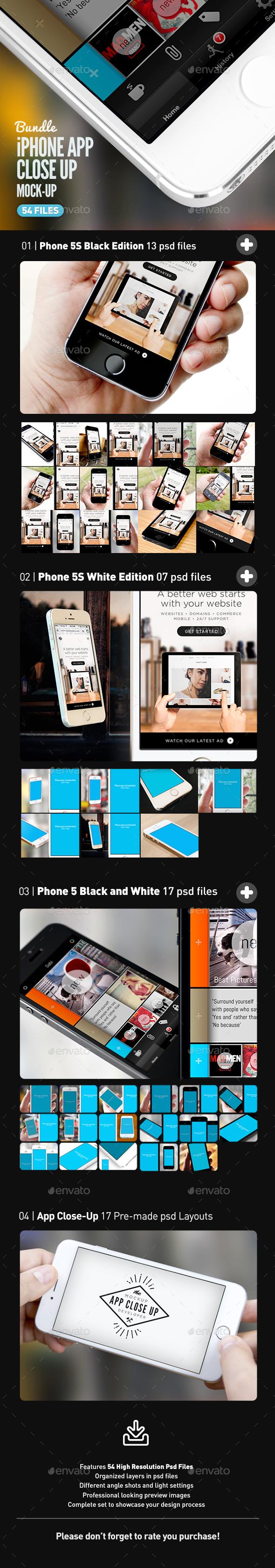 iPhone App UI Close-Up Mock-Up Bundle