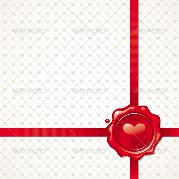 Background With Valentines Sealing Wax Stamp