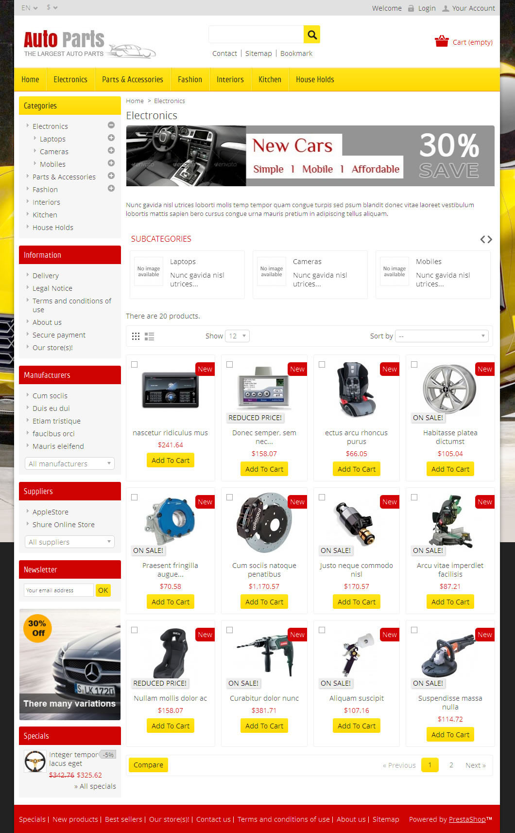 Auto Parts Tools Prestashop Theme By Templatemela