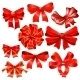 Set Of Red Gift Bow With Ribbons.