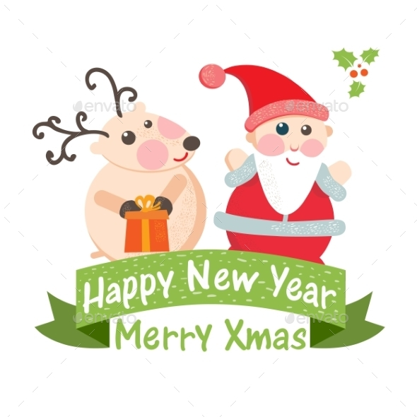 Christmas Card with Santa and Deer