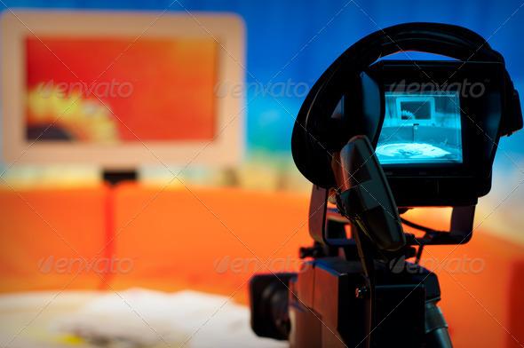 TV studio - Video camera viewfinder - Stock Photo - Images