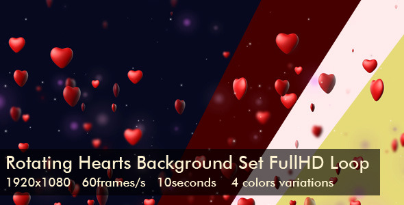 Rotating Hearts Background Set Full HD Loop