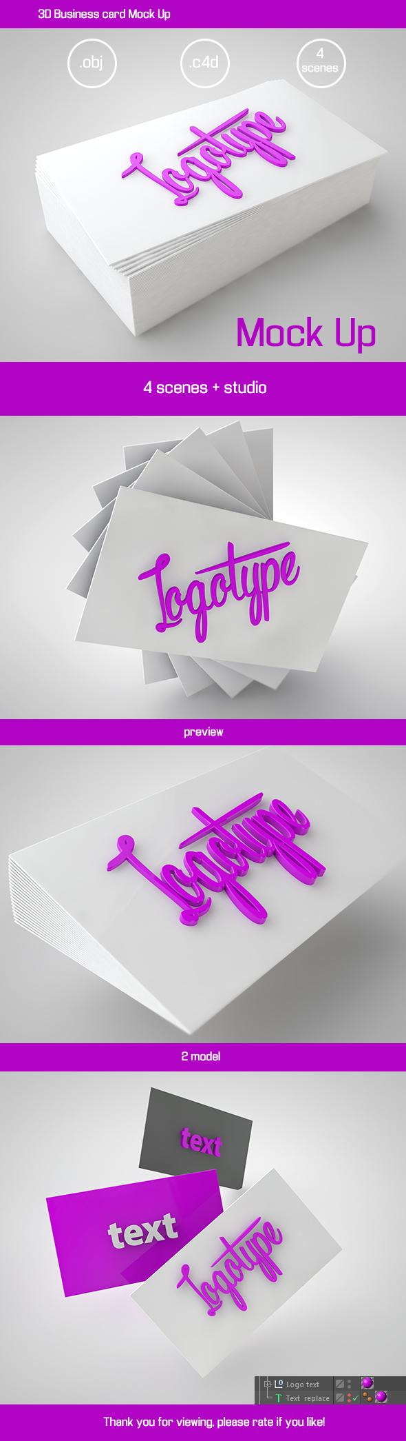 3D Business card Mock Up - 3DOcean Item for Sale