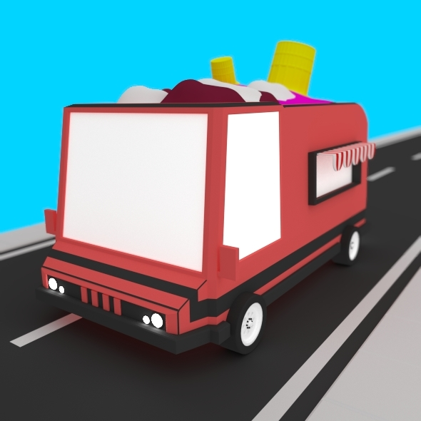 3DOcean Low Poly Ice Cream Truck 13609372