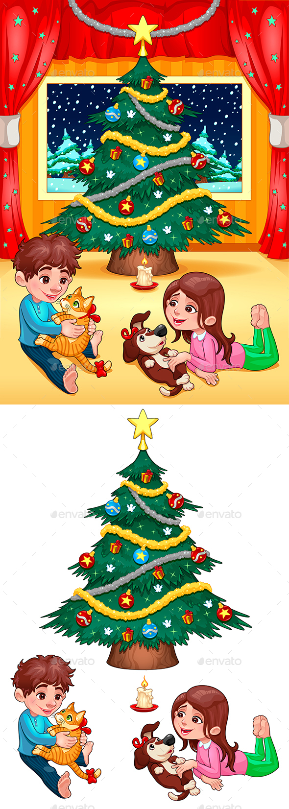 Christmas Scene with Children and Pets