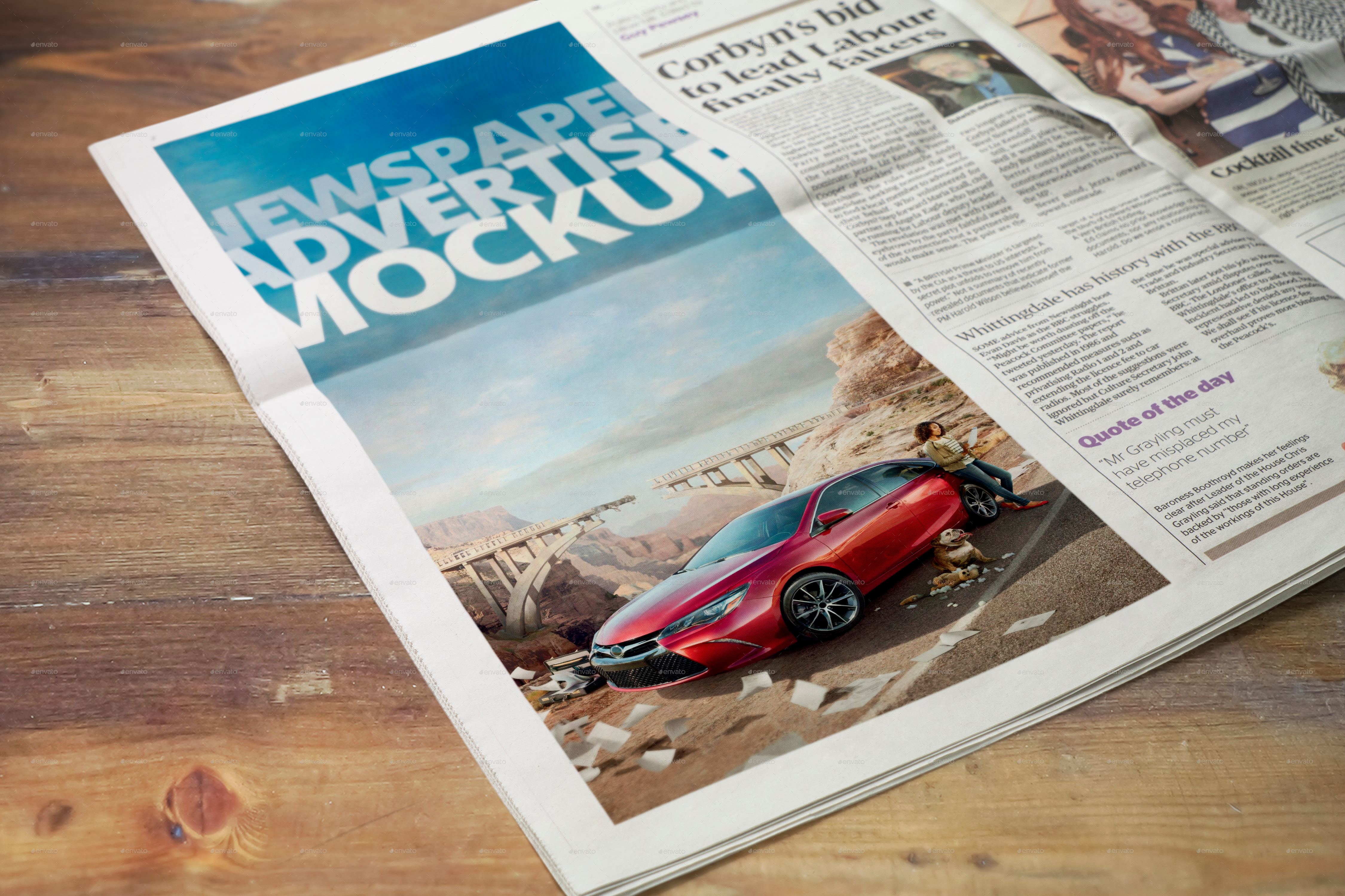 Newspaper Advertise Mockup v2 by 2dsight   GraphicRiver