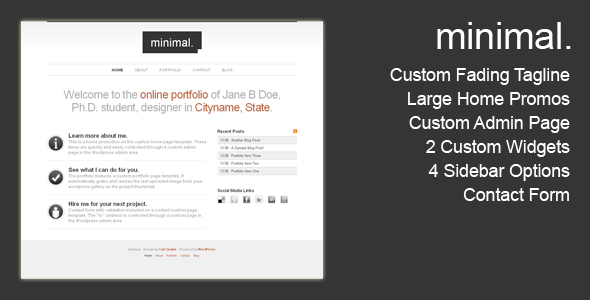 ThemeForest Minimal Wordpress Portfolio 54184