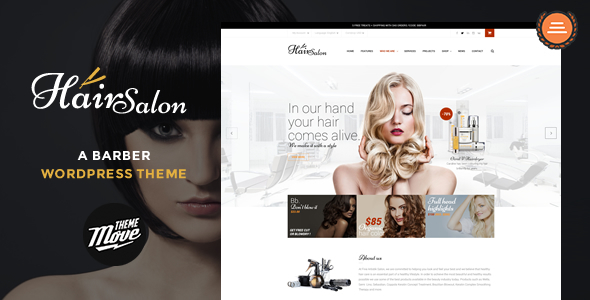 Hair Salon – un tema de WordPress de barbero (Salud & Belleza)